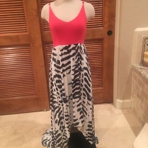 Coral and zebra high low sun dress size small
